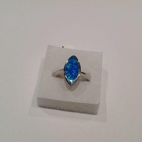 Opál köves ezüst gyűrű – Tengerkék varázslat