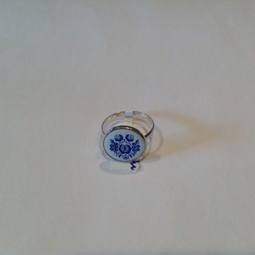 EZÜST Kalocsai Gyűrű – Kék rózsa nefelejccsel