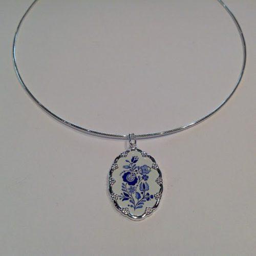 EZÜST Kalocsai medál – Nagy kék rózsa árvácskával