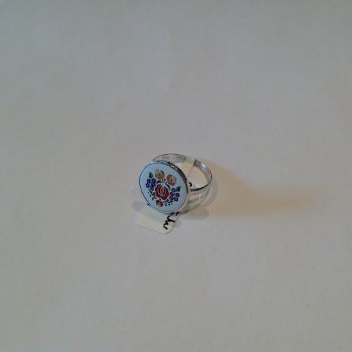 EZÜST Kalocsai Gyűrű – Piros rózsa nefelejccsel