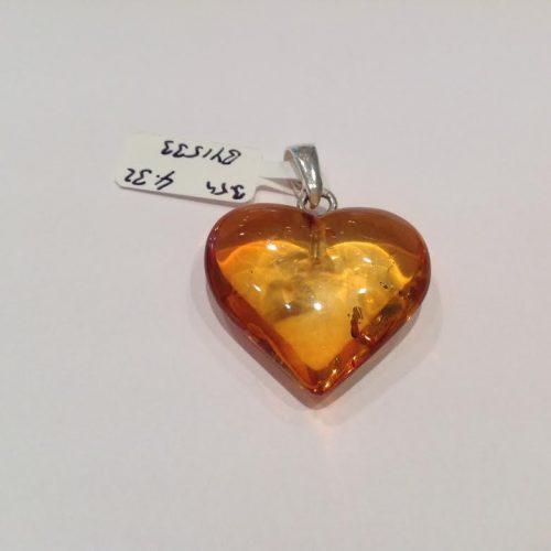 Borostyán köves ezüst medál – Csábító szív