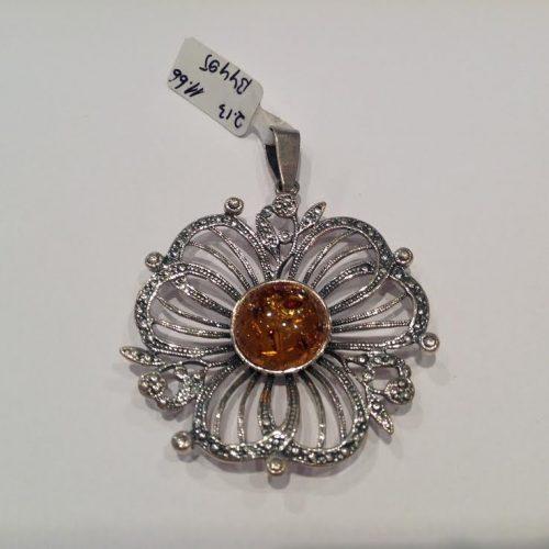 Borostyán köves ezüst medál – Virágok hercegnője