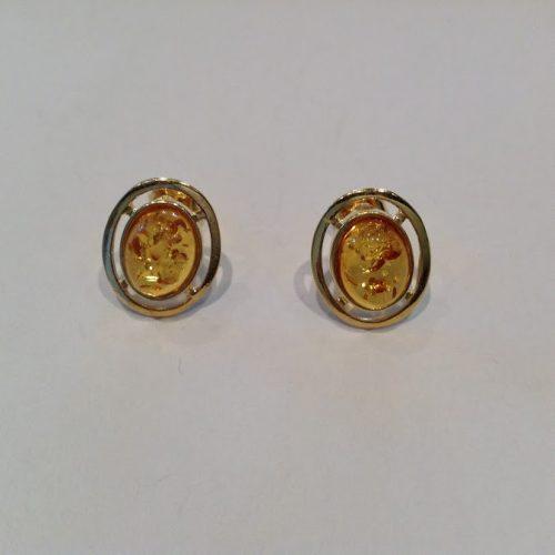 Borostyán köves aranyozott ezüst fülbevaló – Aranysárga ovál