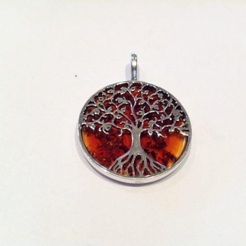 Borostyán köves ezüst medál – Kőrisfa