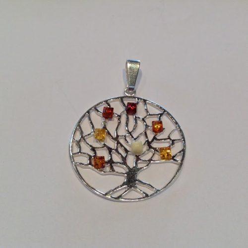 Borostyán köves ezüst élet fa  medál – Bodza