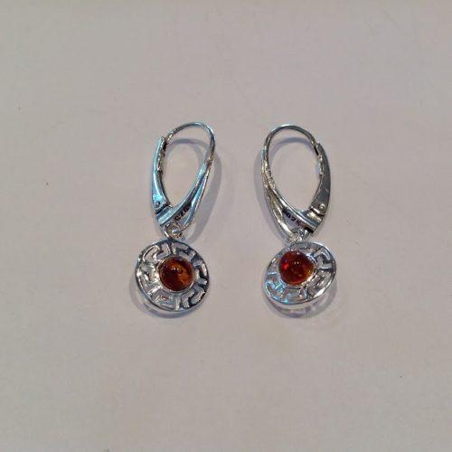 Borostyán köves ezüst fülbevaló – Görög vöröshold