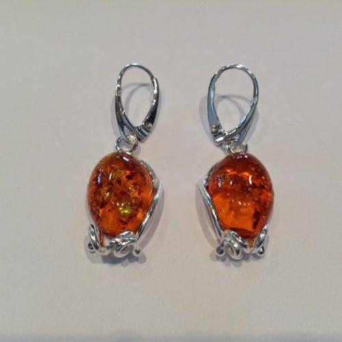 Borostyán köves ezüst fülbevaló – Narancsburok