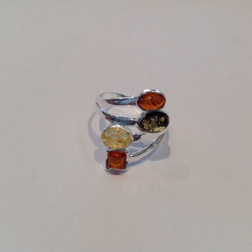 Borostyán köves ezüst gyűrű – Őszi színek