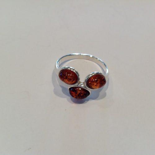 Borostyán köves ezüst gyűrű – Madárbirs