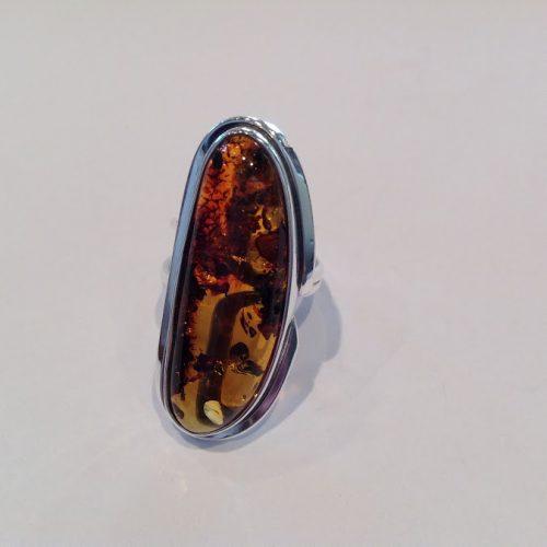 Borostyán köves ezüst gyűrű – Gesztenye kupacs