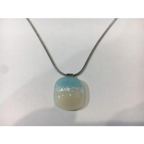 ROZETTA- Üveg Nyaklánc-Halvány kék