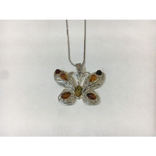Borostyán köves ezüst medál – Tündöklő pillangó