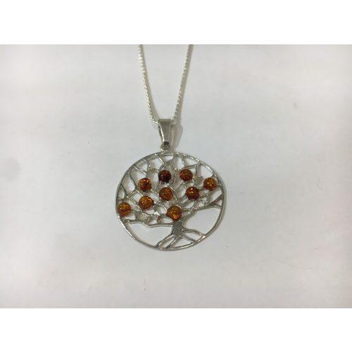 Borostyán köves ezüst élet fa medál – Mogyorófa