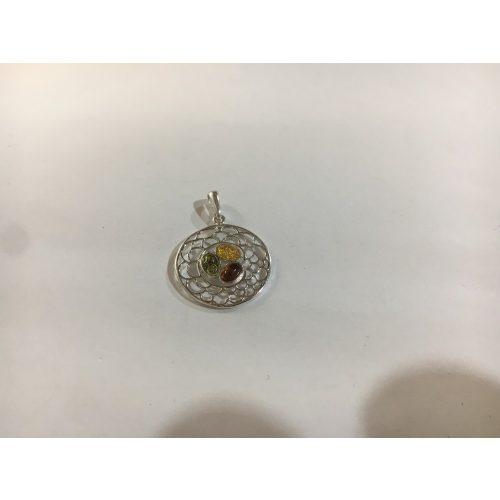 Borostyán köves ezüst medál-Szivarvany