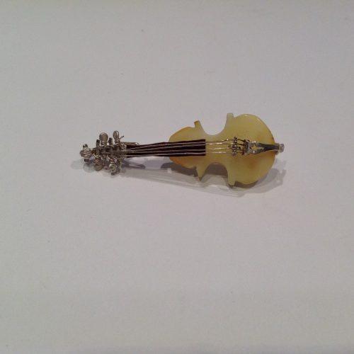 Borostyán-ezüst bross hegedű – Paganini